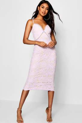 boohoo Izzy Lace Panel Detail Ruffle Hem Midi Dress