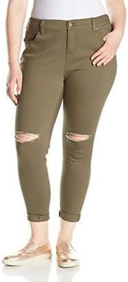 Celebrity Pink Jeans Women's Plus Size Cuffed Girlfriend Knee Destruct
