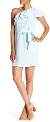 Donna Morgan One-Shoulder Printed Ruffle Dress