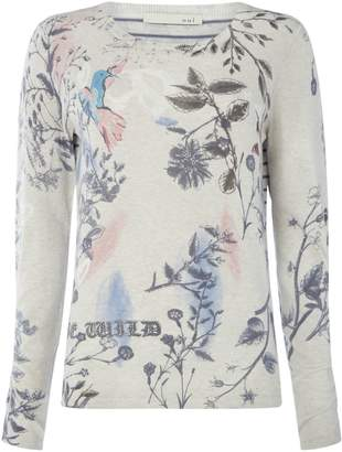 Oui Bird leaf print jumper