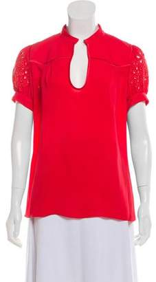 Andrew Gn Silk Eyelet Top