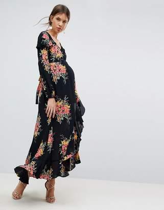Asos Long Sleeve Floral Maxi Dress