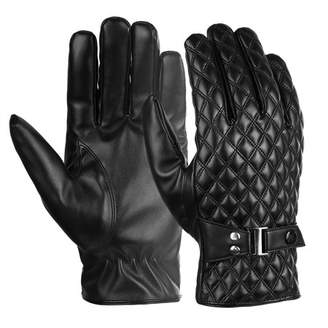 Mens Leather Gloves-Fitbest Mens Leather Gloves Touchscreen PU Leather Gloves for men's Texting Driving Black