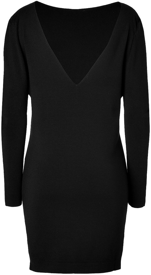 Vionnet Boat Slick Sweater Dress in Black