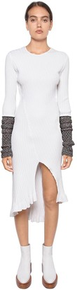 Esteban Cortazar Ribbed Knit Midi Dress W/ Lurex Cuffs