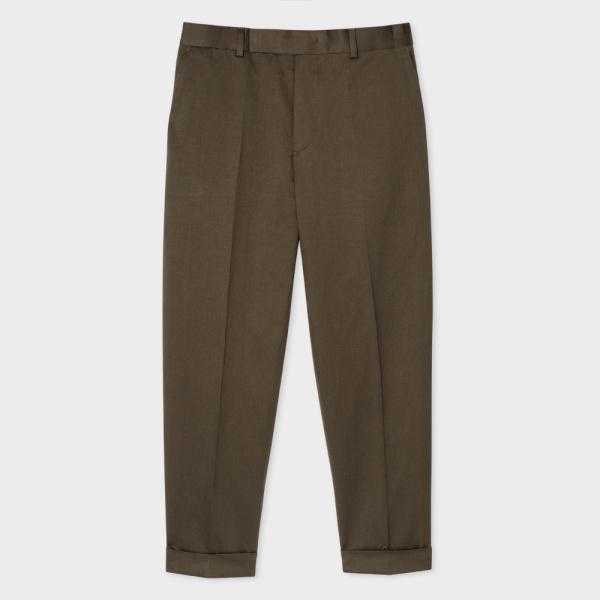 Paul SmithMen's Khaki Cotton And Linen-Blend Tapered Trousers