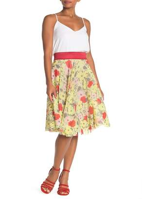 Petit Pois BY VIVIANA G Floral Print Mesh Fit & Flare Skirt
