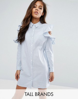 Missguided Tall Frill Cold Shoulder Shirt Dress $38 thestylecure.com