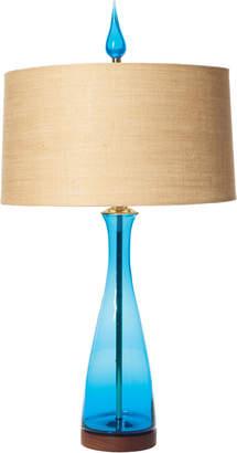 Rejuvenation Blenko Handblown Turquoise Carafe Table Lamp