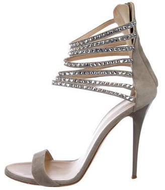Giuseppe Zanotti Crystal Embellished Suede Sandals