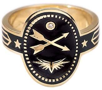 Ring Black Foundrae Cross Arrows Cigar Band Ring - Black Champlevé Enamel