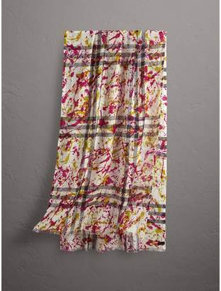 Burberry Splash Print and Check Lightweight Wool Silk Scarf
