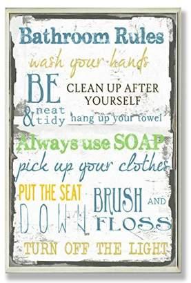 Stupell Home Décor 'Bathroom Rules ' Typography Bathroom Wall Plaque