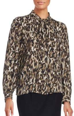 Context Printed Tie-Front Blouse