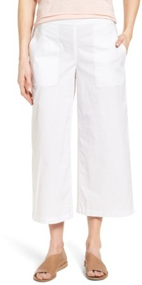 Women's Eileen Fisher Stretch Organic Cotton Crop Wide Leg Pants $178 thestylecure.com