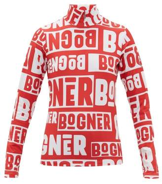 Bogner Beline Logo Print Quarter Zip Thermal Top - Womens - Red White