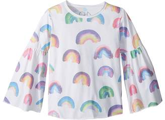 Chaser Kids Super Soft Vintage Jersey Rainbow Flared Sleeve Tee Girl's T Shirt