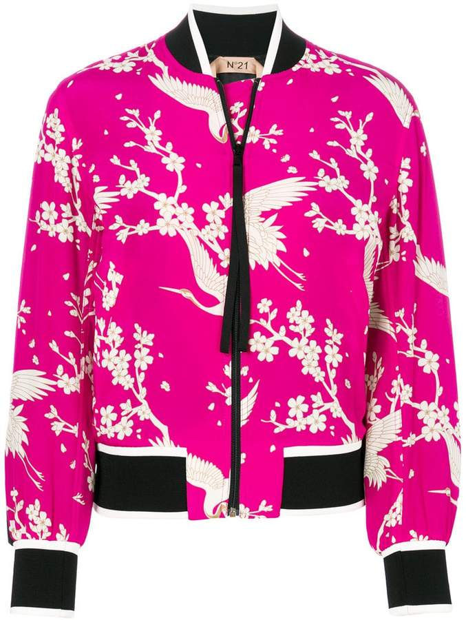 floral and bird print bomber jacket