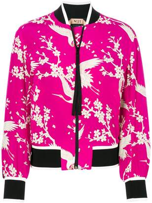 No.21 floral and bird print bomber jacket