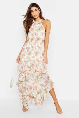 boohoo Floral Shirred Waist Ruffle Detail Maxi Dress