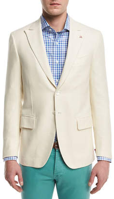 Isaia Textured Peak-Lapel Two-Button Blazer, Creme