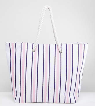 South Beach Navy & Blush Stripe Beach Bag