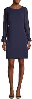 Karl Lagerfeld Paris Sheer Long-Sleeve Shift Dress