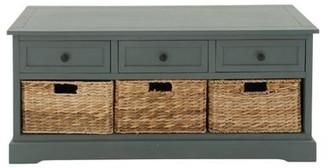 "DecMode 42"" x 20"" Aqua Wood Cabinet w/ Natural Wicker Storage Basket Drawers"
