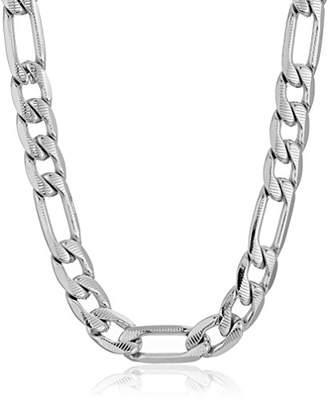 Men's Steeltime Stainless Steel Diamond Cut Figaro Chain Necklace