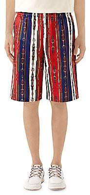 Gucci Men's Belts Print Technical Jersey Shorts