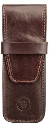 Maxwell Scott Bags Elegant Full Grain Brown Leather Pen Case