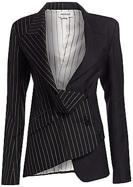 Monse Women's Two-Tone Pinstripe Asymmetric Blazer - Size 0