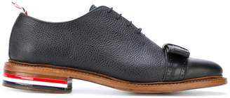 Thom Browne Wholecut With Brogued Bow & Red, White And Blue Leather Sole In Pebble Grain & Calf Leather