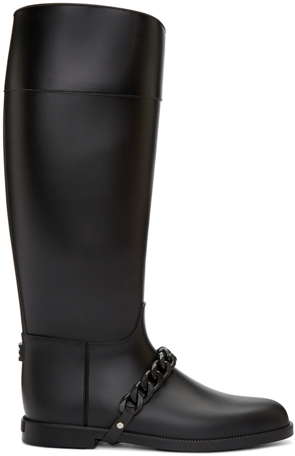 Givenchy Black Rubber Rain Boots