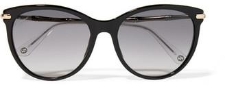 Gucci - Cat-eye Acetate And Gold-tone Sunglasses - Black $375 thestylecure.com