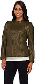 Isaac Mizrahi Live! Quilted Cable Lamb LeatherJacket