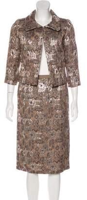 Oscar de la Renta Metallic Jacquard Skirt Suit