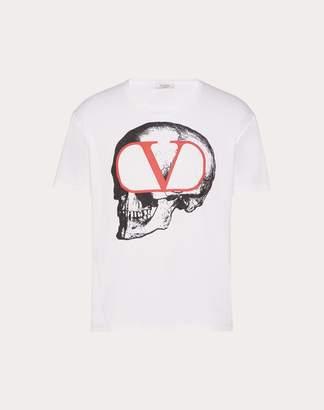 Valentino T-shirt With Go Skull Print Man White Cotton 100% XS