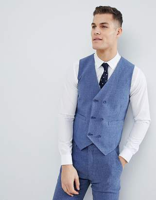 Blue Cross ASOS DESIGN wedding skinny suit vest in provence hatch with printed lining