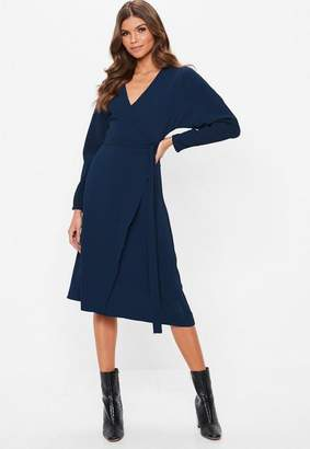 Missguided Navy Wrap Tie Waist Long Sleeve Midi Dress