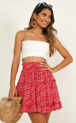 Showpo Hearts Exposed Skirt in red floral - 4 (XXS) Skirts