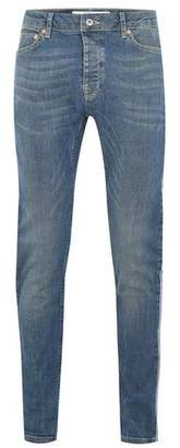 Topman Mens Blue Light Wash Side Taping Stretch Skinny Jeans