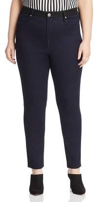 Seven7 Jeans Plus Color-Block Skinny Jeans in Black/Blue