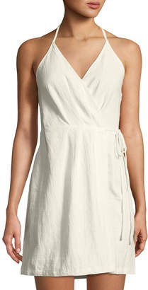 Astr Halter-Neck Linen Wrap Dress