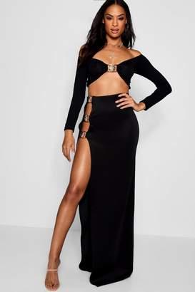 boohoo Tall Megan Thigh Split Buckle Trim Maxi Skirt