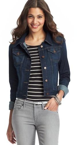 LOFT Petite Cropped Denim Jacket in League Blue Wash