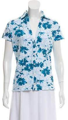 Loro Piana Floral Print Button-Up Top
