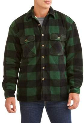 Butter Shoes Marino Bay Men's Plaid Print polar fleece Shirt Jacket with fleece sherpa lined, up to size 2XL