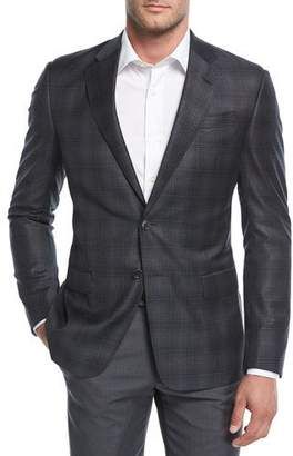Giorgio Armani Degrade Plaid Wool Sport Coat