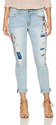 Denim Crush Women's Floral Blossom Embroidered Patch and Repair Girlfriend Jean